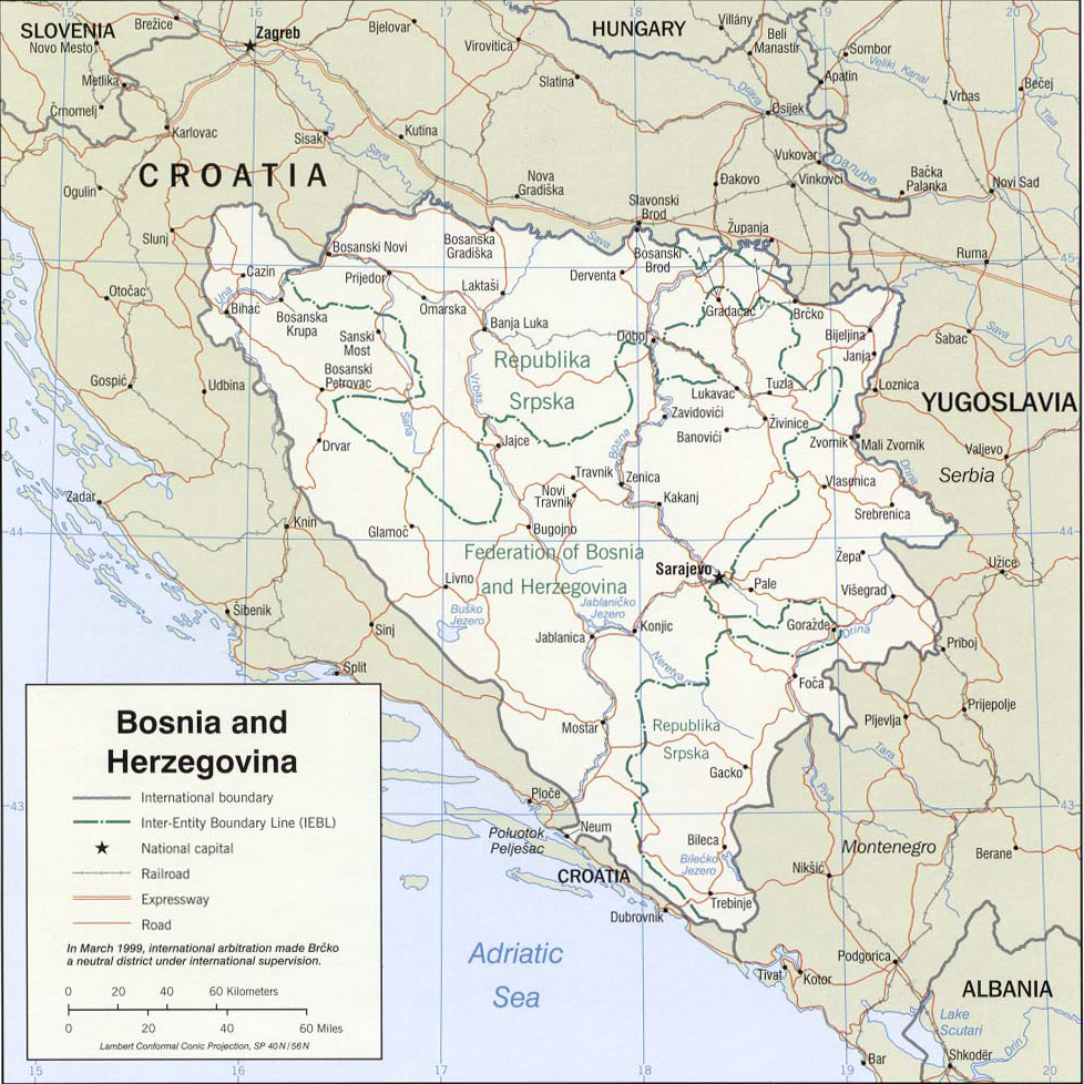 Maps Of Bosnia And Herzegovina Cartemondeorg - Where is bosnia on a world map