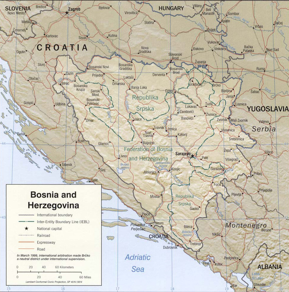 Maps Of Bosnia And Herzegovina Cartemondeorg - Bosnia and herzegovina map