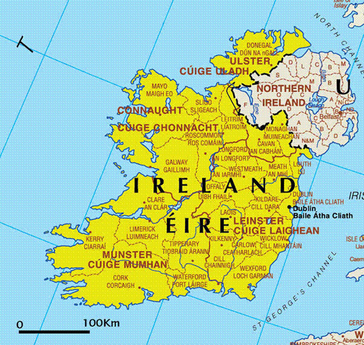 carte europe irlande
