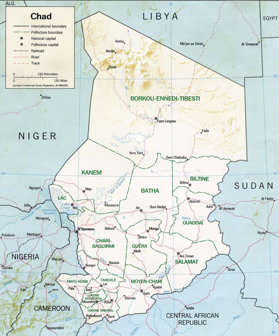 Bien-aimé Cartes du Tchad - Carte-monde.org OE01