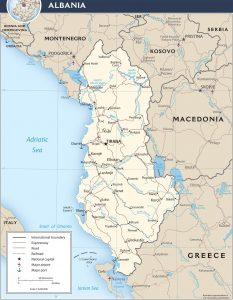 carte politique de l'albanie