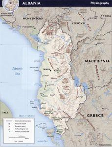 Carte du relief de l'Albanie