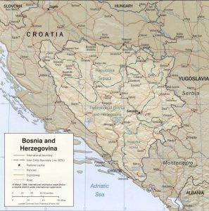 Carte du relief de la Bosnie-Herzégovine