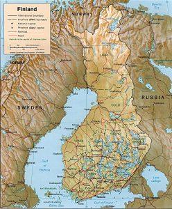 Carte du relief de la Finlande