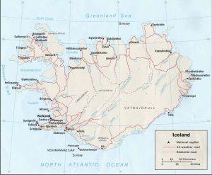 Carte politique de l'Islande