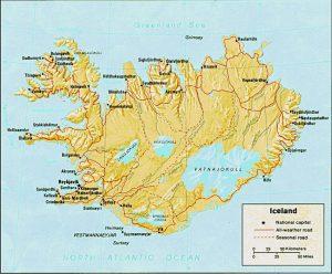 Carte du relief de l'Islande
