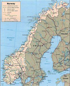 Carte politique de la Norvège