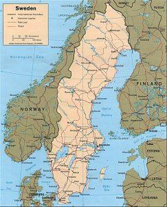 Carte politique de la Suède