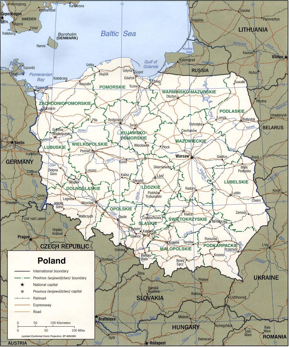 Carte pologne routes