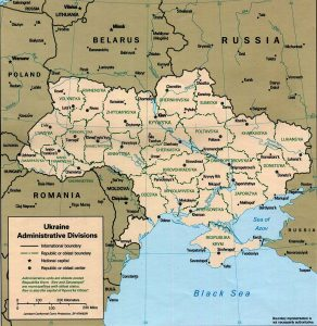 Carte des provinces de l'Ukraine