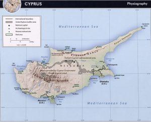 Carte du relief de Chypre