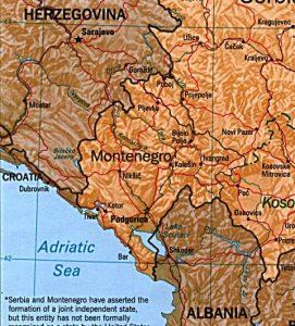 Carte du relief du Montenegro