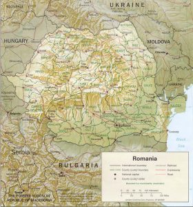 Carte du relief de la Roumanie