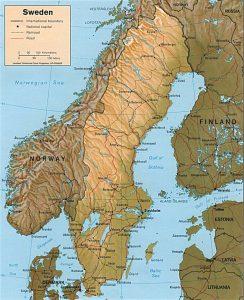 Carte du relief de la Suède