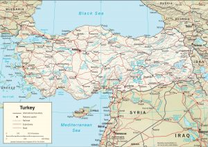 Carte du relief de la Turquie