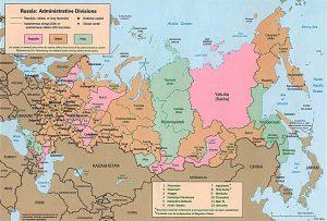 Carte des régions administratives de la Russie