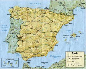 Carte du relief de l'Espagne