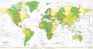carte des fuseaux horaires monde