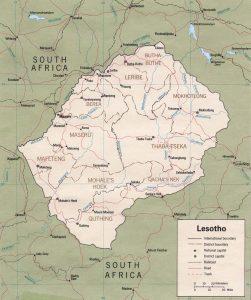 Carte administrative du Lesotho