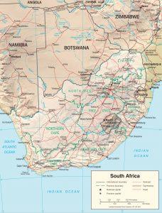 Carte politique en relief de l'Afrique du Sud