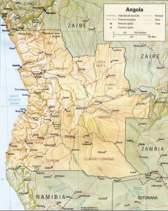 Carte en relief de l'Angola