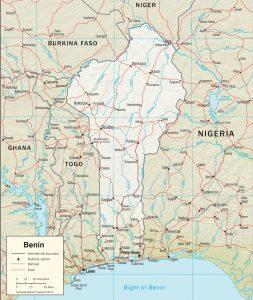 Carte en relief du Bénin