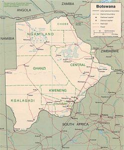 Carte administrative du Botswana