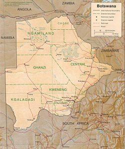 Carte en relief du Botswana
