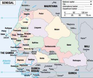 Carte des départements du Sénégal
