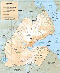 Carte en relief de Djibouti