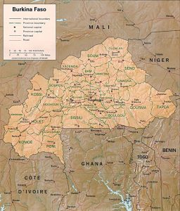 Carte en relief du Burkina Faso
