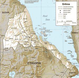 Carte en relief de l'Erythrée