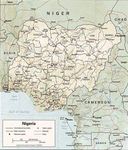Carte en relief du Nigeria