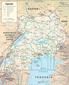 Carte en relief de l'Ouganda
