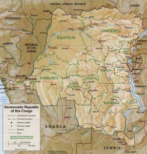 Carte en relief de la République Démocratique du Congo