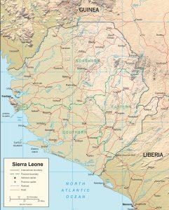 Carte en relief de la Sierra Leone