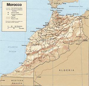 Carte en relief du Maroc