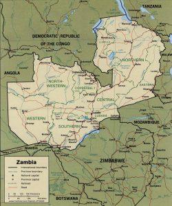 Carte politique de la Zambie