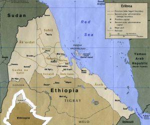 Carte des provinces de l'Erythrée