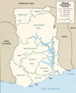 Carte des provinces du Ghana