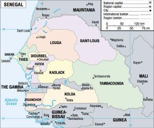 Carte des régions du Sénégal