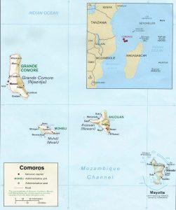 Carte en relief des Comores