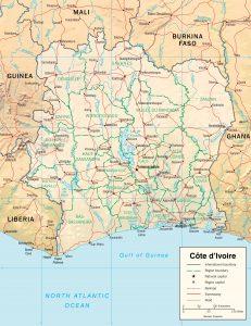 Carte en relief de Côte d'Ivoire