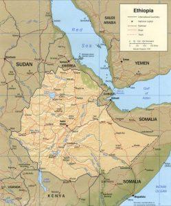 Carte en relief de l'Éthiopie