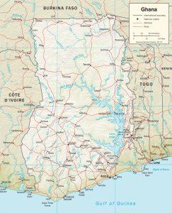 Carte en relief du Ghana