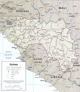 Carte en relief de la Guinée