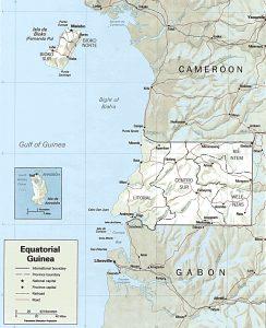 Carte en relief de la Guinée Equatoriale