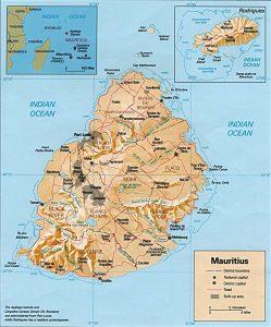 Carte en relief de l'île Maurice