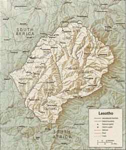 Carte en relief du Lesotho