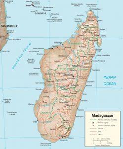 Carte en relief de Madagascar
